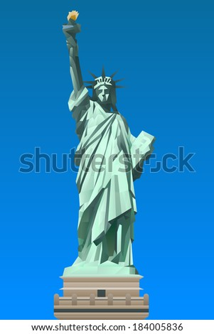 Statue of Liberty illustration in triangular pattern style - stock vector