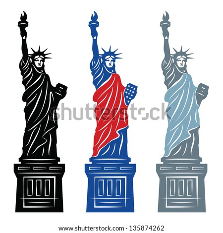 Statue of Liberty in New York City - stock vector