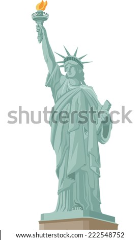 Statue of Liberty in New York, with Liberty Statue Standing holding flaming torch. Vector Illustration Cartoon. - stock vector