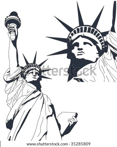 Statue of Liberty in very high detail in vector art - self drawn. - stock vector