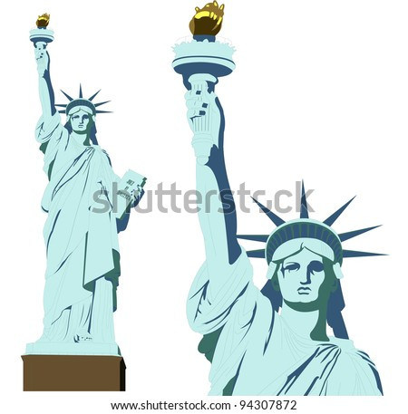 statue of Liberty in very high detail in vector art - self drawn - stock vector