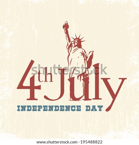 Statue of Liberty. Landmark in New York. Symbol of Freedom and Democracy. Independence day. 4th of July. - stock vector