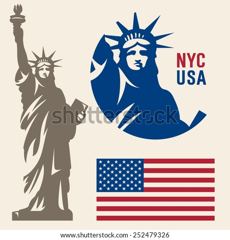Statue of Liberty. New York landmark. American symbol. American flag - stock vector