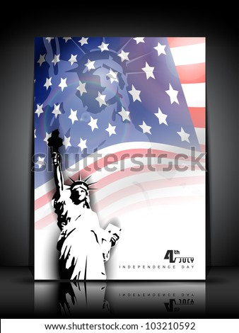 Statue of liberty on American flag  background for 4th July American Independence Day and other events. Vector illustration. EPS 10. - stock vector