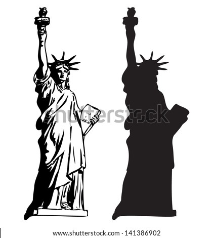 Statue Of Liberty  outline and silhouette vector