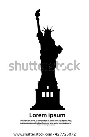 Statue of Liberty Silhouette United States Symbol Vector Illustration