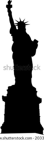Statue of Liberty silhouette - vector illustration