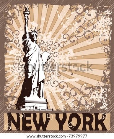 Statue Of Liberty - Symbol of New York City - stock vector
