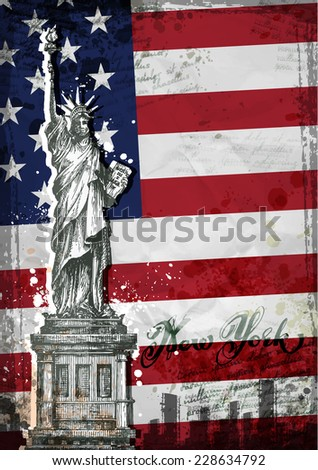 statue of Liberty. United States flag. Vector illustration - stock vector