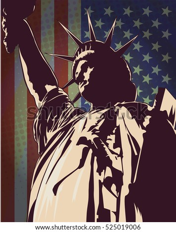 Statue of Liberty, USA flag, vector image