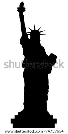 Statue Of Liberty Vector Black Shadows Silhouette - stock vector