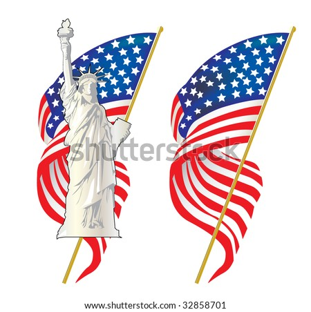 Statue Of Liberty with american flag in the background - stock vector