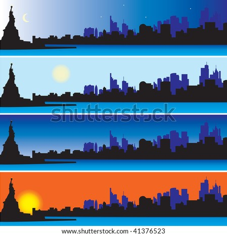 Statue of Liberty with New York Skyline. Vector illustration - stock vector