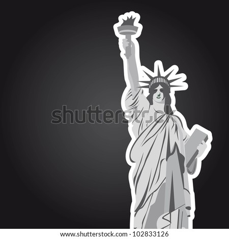 statue of liberty with space for copy over black background. vector - stock vector