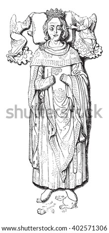 Statue placed on the tomb of Rollo in Rouen Cathedral, vintage engraved illustration. Colorful History of England, 1837.