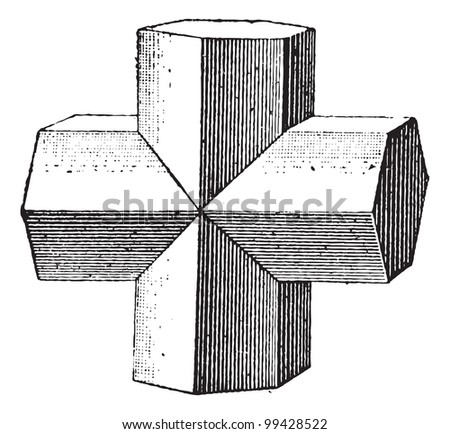 Staurolite isolated on white background, vintage engraved illustration. Dictionary of words and things - Larive and Fleury - 1895. - stock vector