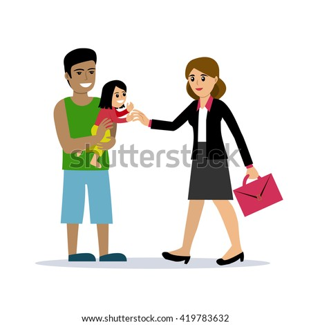 Stay-at-home dad holding a baby daughter meets the mother after work. Vector illustration, cartoon style. Isolated on white. Happy parenting. Father with a child and business woman. Modern family. - stock vector