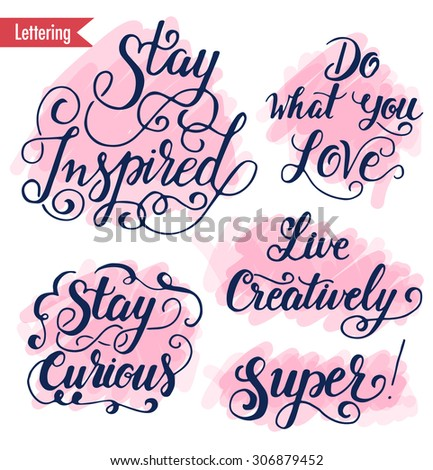 vector motivation inspirational quote hand lettering stock