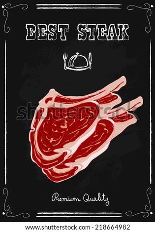Steak house poster chalkboard.Hand drawn vector illustration. - stock vector
