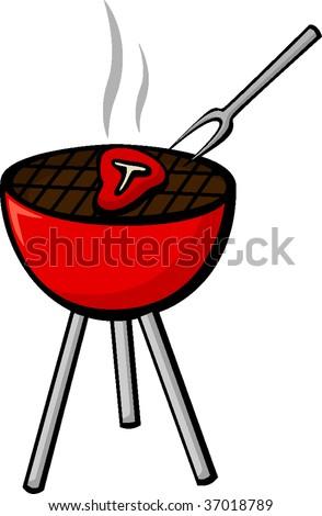 steak in grill - stock vector
