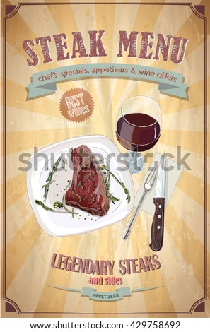 Steak menu design with graphic illustrati  on of a fillet mignon steak on a plate and glass of wine, vintage paper backdrop - stock vector