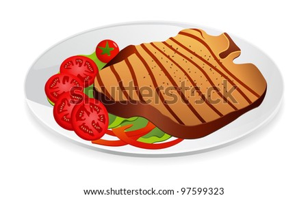 Steak with vegetables on a plate. Vector illustration on white background - stock vector