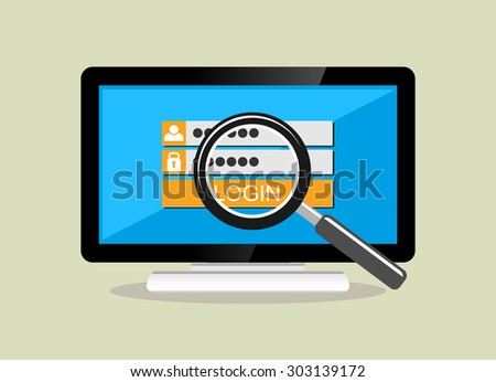 Stealing data concept illustration. IT background. Data protection, security system, brute force. - stock vector