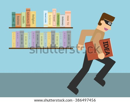 Stealing idea book from book shelf .Simple cartoon EPS10 vector illustration in flat design. - stock vector