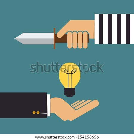 Stealing idea, Business concept - stock vector