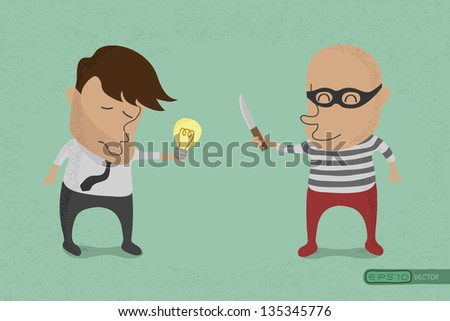 Stealing idea , eps10 vector format - stock vector
