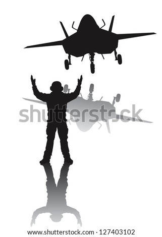 Stealth plane and aircraft carrier crewman. Vector silhouettes with reflection