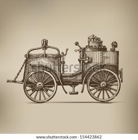 Steam car - stock vector