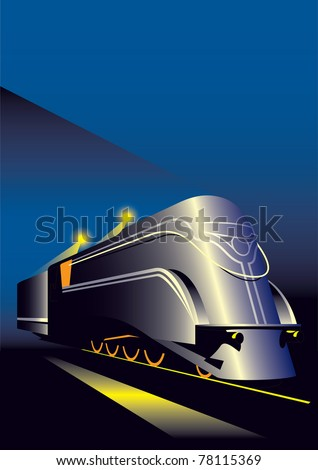 Steam locomotive - stock vector