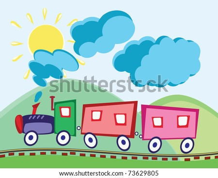 Steam locomotive and wagons in animated cartoon childish style - stock vector