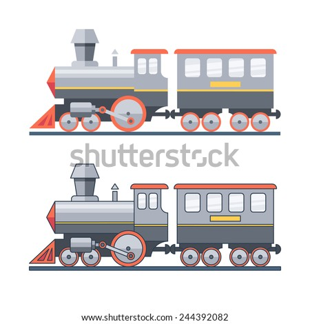 Steam locomotive on the railroad. Vector flat illustration