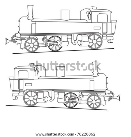 steam locomotive vector - stock vector