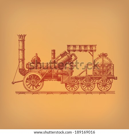 Steam locomotive. Vector format - stock vector