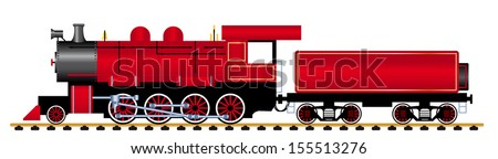 steam locomotive with wagon, vector illustration  - stock vector