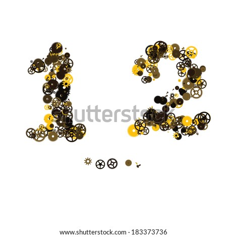 Steam punk mechanical digits made of gears and screws. 1, 2 - stock vector