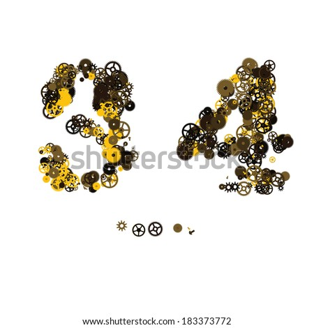 Steam punk mechanical digits made of gears and screws. 3, 4 - stock vector