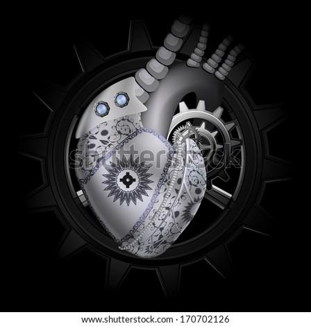 Steam punk mechanical heart illustration - stock vector