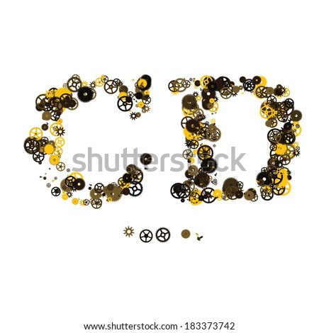 Steam punk mechanical letters made of gears and screws. C, D