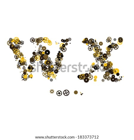 Steam punk mechanical letters made of gears and screws. W, X