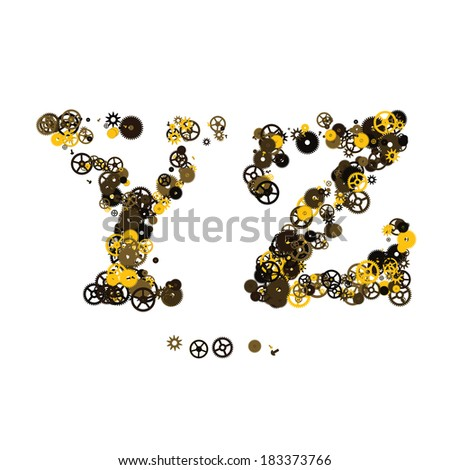 Steam punk mechanical letters made of gears and screws. Y, Z - stock vector