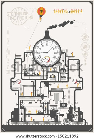 Steam punk style - time factory - stock vector