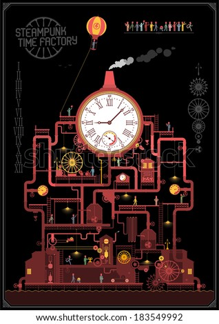 Steam punk style - time factory ( night ) - stock vector