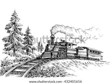 Steam train - stock vector