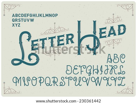 Steampunk alphabet with decorative ornate - stock vector