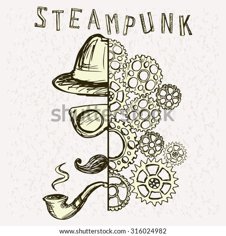 Steampunk background. Vector hand drawing  - stock vector