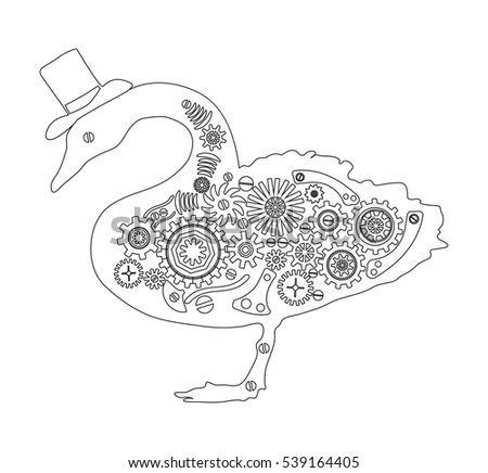 Steampunk Bird Vintage Style Swan Retro Illustration Page For Adult Colouring Book